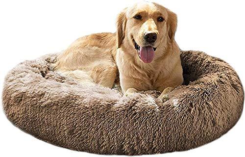 DHGTEP Cama Redonda de Felpa para Perros Cama para Gatos Donut Almohada Lavable Canasta Ortopédica para Mascotas Medianas, Grandes y Extra Grandes (Color : Khaki, Size : 100CM)