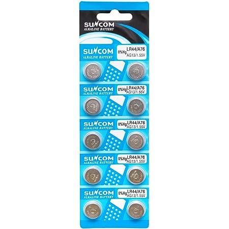 SUNCOM アルカリボタン電池 LR44 A76 AG13 1.55V 1シート 10個入