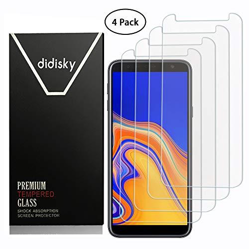 Didisky [4-Unidades Cristal Templado Protector de Pantalla para Samsung Galaxy J4 Plus / J6 Plus, Antihuellas, Sin Burbujas, Fácil de Limpiar, 9H Dureza, Fácil de Instalar, Transparente