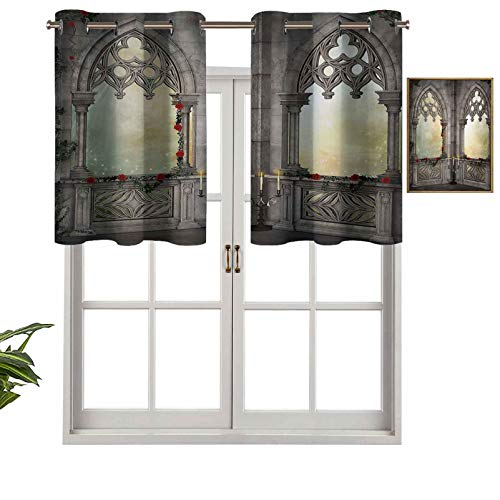 Hiiiman Indoor Privacy Window Valance Curtain Panel Vintage Style Ottoman Palace Balcony for Sultans with Red Rose Flowers Ivy Terrace Image, Set of 1, 36'x18' for Sliding Patio Door/Dining