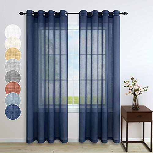 Pitalk Navy Blue Sheer Curtains 84 Inches Long for Living Room 2 Panels Grommet Faux Linen Nautical Masculine Drape Indigo Semi Sheer Curtain for Bedroom Kids Boys Teen Farmhouse Decor 52x84 Dark Blue