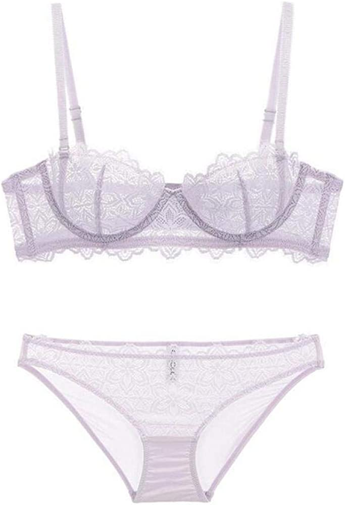 Lace Bralette Mastectomy Bras Lace Transparent Bra and Panties Underwear Women Unlined Underwire Sexy Lingerie