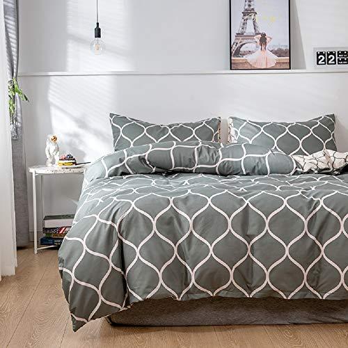 Luofanfei Bettwäsche 220x240cm Grau Bettwäsche-Set 3 Teilig Microfaser Wendebettwäsche Set Doppelbett Bettbezug mit Reißverschluss und 2 Kissenbezüge 80 x 80 cm (220X240 cm,LA)