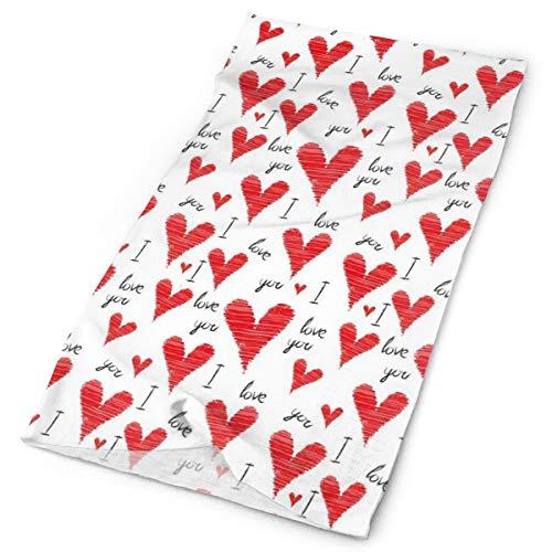 GUUi Headwear Headband Head Scarf Wrap Sweatband,Hand Written I Love You Phrases Heart Symbols Valentines Day Inspiration,Sport Headscarves for Men Women