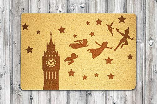 """StarlingShop Peter Pan - Felpudo de bienvenida con texto en inglés """"Peter Pan"""""""
