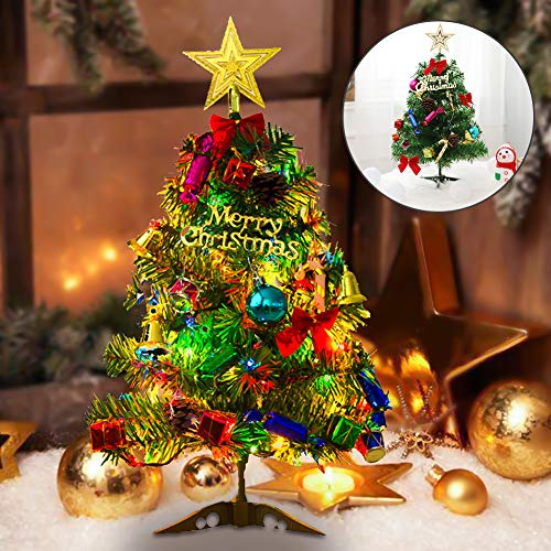 20'/50cm Tabletop Xmas Tree Artificial Desktop Christmas Tree Mini Small Christmas Pine Tree with LED String Lights & Ornaments Battery Powered Tabletop Decorative Christmas Perfect for Home Office
