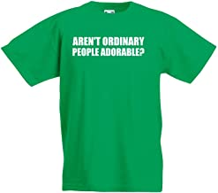 Brand88 Aren't Ordinary People Adorable?, Kids Printed T-Shirt - Kelly Green/White 5-6 Years