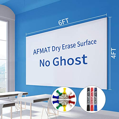 6'x4' Whiteboard Paper, White Board Adhesive Wallpaper, Large Dry Erase Wall Sticker, Dry Erase Paper Roll for Table/Doors, 3 Markers, Super Sticky, No Ghost