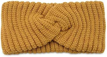 Baby Fan Cross Knitted Headband Women Wide Hairband Solid Elastic Hair Bands Warmer Ear Head Wrap Winter Autumn Warm Hair Accessories (Color : Yellow)