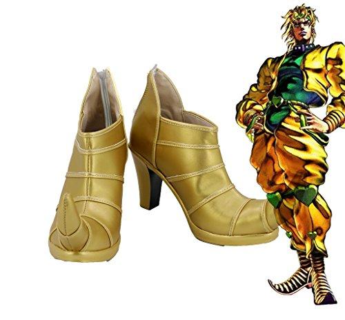 Jojo 's Bizarre Adventure 3Dio Brando Cosplay Schuhe High Heel Custom Made, Jungen Mädchen Damen Herren, Goldfarben, 7 B(M) US Female