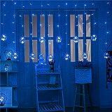 Wandskllss Cadena de luces Led Solar Deseos Bola Cortina Luces Al Aire Libre Impermeable Cadena Luces Balcón Jardín Decoración Luces Colgantes Luces Estrella Azul