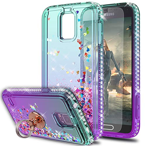KaiMai S5 Case, Galaxy S5 Cases with HD Screen Protector with Ring Holder, Glitter Moving Quicksand Clear Cute Shiny Girls Women Phone Case for Samsung Galaxy S5-Aqua/Purple Ring