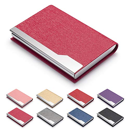 FACATH Business Card Holder Case - Luxury PU Leather Name Card Holder & Stainless Steel Multi Card Case, Slim Metal Pocket Card Holder Wallet Credit Card ID Case/Holder with Magnetic Shut - Rose Red