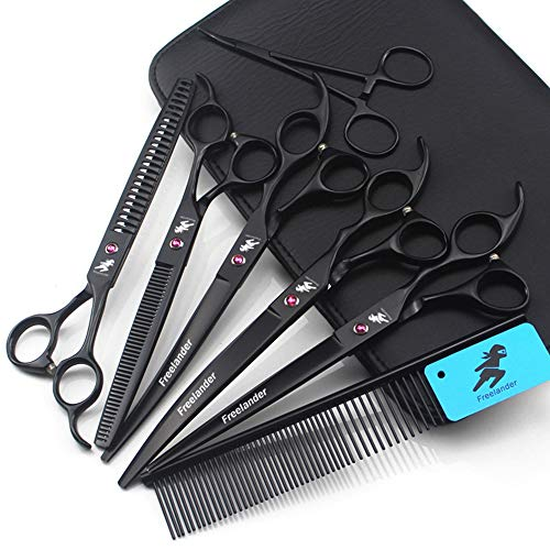 Freelander Pet Grooming Scissors Kit 8 Zoll Hundepflege-Set Schwarz Wird für Hunde oder Katzen mit Schneideschere, Ausdünnungsschere, gebogener Schere und Pflegekamm verwendet