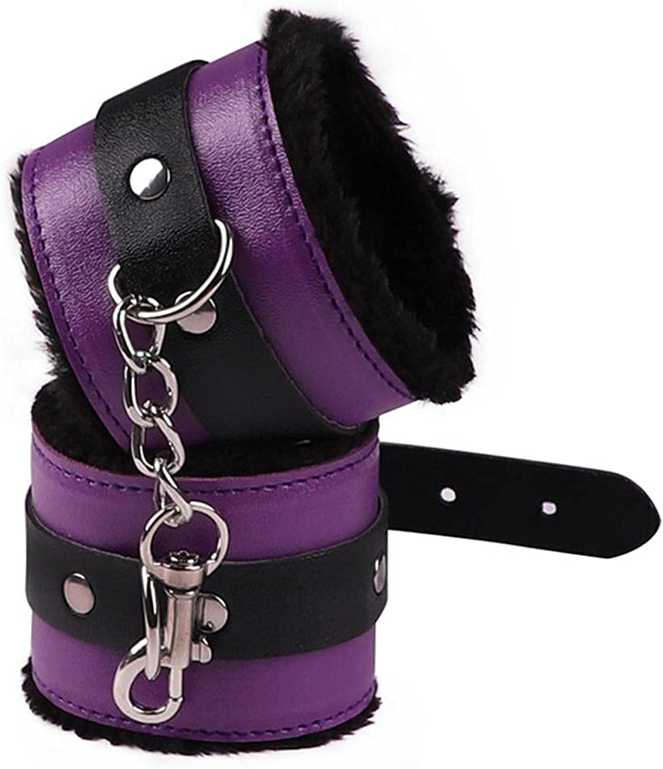 Fluffy Wrist Leather Handcuffs Bracelet Leg Cuffs Anklet Bangle Role Play Exercise Bands Leash Sex Detachable Adjustable Chain for Home Yoga Gyms Party Cosplay Jewelry