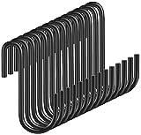 Ganchos en forma de S Yesland de acero negro resistente para colgar sartenes, ollas, abrigos, bolsos, plantas en la cocina, tienda de trabajo, baño, dormitorio y jardín