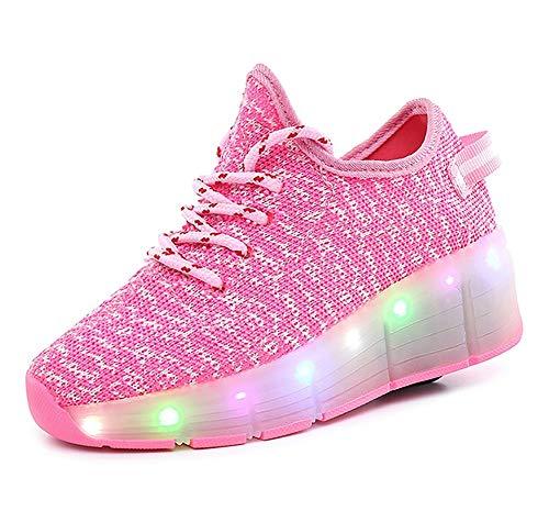 GEETAC Girls 'Fresh Trainer, Fitness-Schuhe, LED Retractable Skateboarding Rollerblades Full Size,34