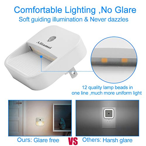 Alitamei Dimmable LED Night Light,Plug-in Nightlight Automatic Dusk-to-Dawn Light Sensor for Bedroom, Bathroom, Kitchen, Hallway, Stairs, Warm White (2 Pack)