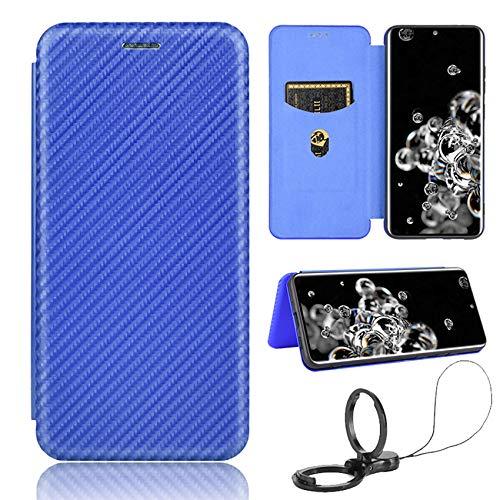 TOPOFU Leder Folio Hülle für ZTE Axon 20 5G, Premium Kohlefaser Flip Wallet Tasche mit Kartenfächern, Magnetic, Standfunktion, Lederhülle Handyhülle Schutzhülle (Blau)