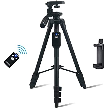 """Fugetek 54"""" Tripod, Works with Phone & Camera, Use for Facetime, Video Calls, Teaching, Lightweight Aluminum, Removable Bluetooth Remote, Mount Smartphone, DSLR, Apple Android Compatible, Black"""