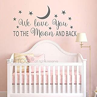 BATTOO We Love You to The Moon and Back Wall Decal - Nursery Wall Decal - Moon and Stars Nursery Decals - Children Wall De...