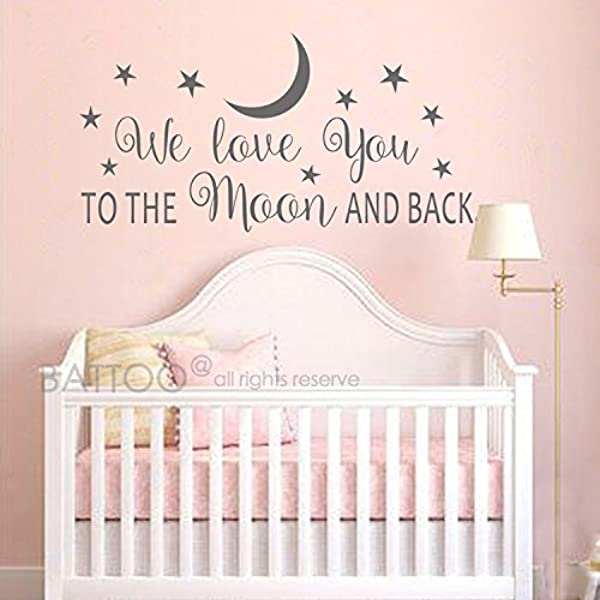 BATTOO Nursery Wall Decal We Love You To The Moon And Back Wall Decal Nursery Wall Decal Moon And Stars Wall Decal Childrens Room Decor Dark Gray 30 WX15 H