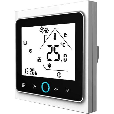 Contrôleur de température Wifi Thermostat WIFI Climatisation intelligente Contrôleur de température programmable avec écran LCD à 2 tubes, Compatible avec Alexa Google