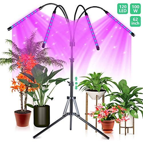 CRAZCALF 120 LED Pflanzenlicht mit Stativ 100W Pflanzenlampe für Zimmerpflanzen Pflanzenleuchte Wachstumslampe Wachsen licht Vollspektrum mit Zeitschaltuhr 4/8 /12H Stativ verstellbar 38-160cm