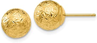 14k Yellow Gold Round 8mm Crystal Cut Ball Post Stud Earrings Button Fine Jewelry Gifts For Women For Her