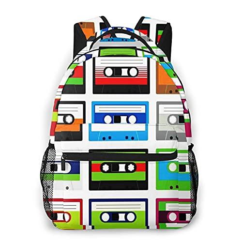 Multifunzionale Casuale Zaino,Collezione anni '90 di cassette audio in plastica retrò a tema di intrattenimento di vecchia te,Pacchetto a Doppia Spalla Borsa Sportiva da Viaggio Notebook per Computer