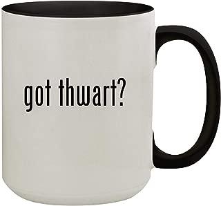 got thwart? - 15oz Colored Inner & Handle Ceramic Coffee Mug, Black