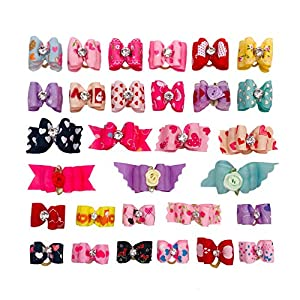 PET SHOW Valentine's Day Small Dogs Hair Bows with Rubber Bands Medium Large Dog Cat Puppy Grooming Topknot Hair Accessories Random Color