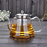 seasaleshop Glas Teekanne Teebereiter 1000ml mit herausnehmbarem Edelstahl Teesieb -