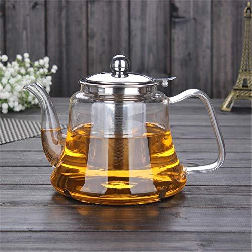 seasaleshop Glas Teekanne Teebereiter 1000ml mit herausnehmbarem Edelstahl Teesieb - Glaskanne Teekrug Teefilter Hitzebeständig