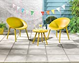 Dawsons Living Moon Bistro Set - Outdoor Plastic Garden Patio and Decking Set - 2 Chairs and Table (Yellow)