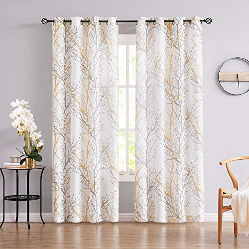 Fmfunctex Tree Print Yellow Grey and White Curtains for Living Room Windows - Linen Textured Grommet Branches Pattern Window Treatment Set for Bedroom - 50' W x 96' L - (2 Panels)