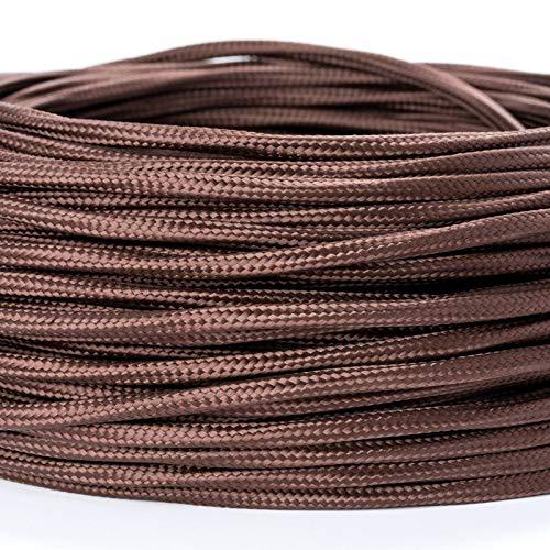 1M Meter Extra dünnes Textilkabel für Kronleuchter Textilummanteltes Kunststoffleitung Stoffkabel Stromkabel dünn / 3-adrig 3x0,75mm² mit Erdleiter, Lampezubehör (braun)