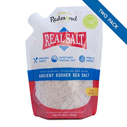 Redmond Real Sea Salt - Natural Unrefined Organic Gluten Free Kosher, 16 Ounce Pouch (2 Pack)
