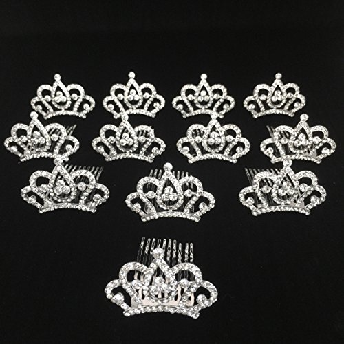 Princess Crown Comb Mini Tiara Hair Clips for Princess Party Favor 12 pcs