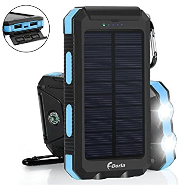 Solar Charger 20000mAh Power Bank, Portable Charger Solar Phone Charger with 2 USB Port 2 LED Light External Battery Pack for Emergency Travelling Camping, iPhone Android Cellphone Charging (Blue)