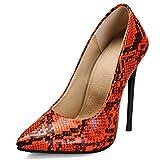 JonoFono Zapatos de Tacón de Aguja para Mujer Zapatos de Tacón Stiletto Zapatos de Vestir de Fiesta con Punta Animal Print Snake Orange Size 37 Asian