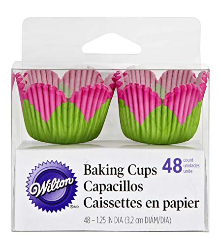 Wilton Pink Petal Shaped Baking Cups, Mini, 48-Count