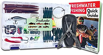 Tailored Tackle Freshwater Fishing Kit 119 pc Tackle Box with Tackle Included Pliers Lures Spinners Spoon Bait Worms Jigs Hooks Starter Equipment Gifts & Gear to Fish for Bass Walleye Trout