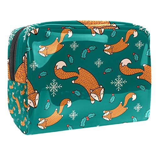 Sketchy Kosmetiktasche für Damen, Motiv: Weihnachtsfuchs, 18,5 x 7,5 x 13 cm, tragbar, aus PVC