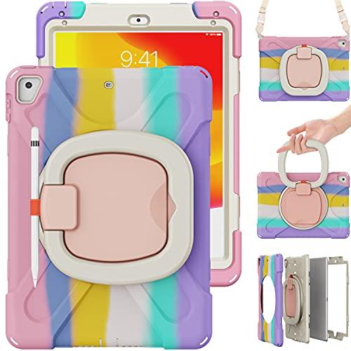 TSQ Funda para iPad Air 2, iPad 5ª/6ª generación, iPad Pro 9.7 funda para niños y niñas | colorida funda para niños con soporte estable y agarre correa para el hombro, soporte para lápiz para iPad de 9.7 pulgadas, color rosa arco iris