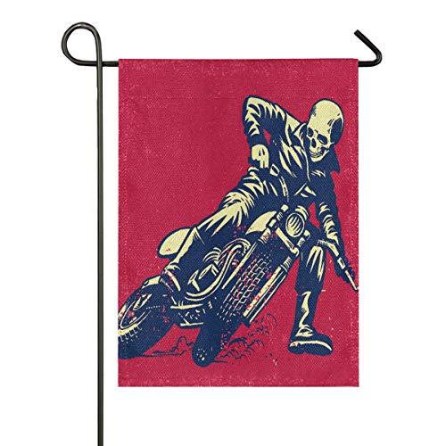LZXO doppelseitige Premium Gartenflagge Vintage Totenkopf Bikecycle Muster Yard Decor Willkommen Garten Flaggen Outdoor Flaggen mehrfarbig, 12x18 in