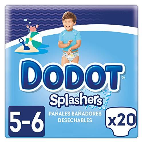 Dodot Splashers Talla 5, 2 x 10 Pañales bañadores desechables, 14 kg+, no se hinchan y fácil de quitar