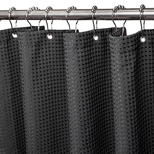 Waffel Duschvorhang mit Metall Duschvorhangringe Stoff Textil Badewannenvorhang Anti Schimmel Bad Vorhang Set Wasserdicht Badewanne Vorhang Schwerer Shower Curtain Badezimmer - 92 x 182cm (Schwarz)