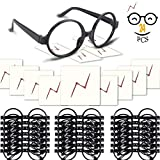 YoHold Wizard Glasses with Round Frame No Lenses and Lightning Bolt Tattoos for Kids Wizard, Halloween, St Patrick's Day Costume Party/Birthday Party, 24 Pack of Each, Black