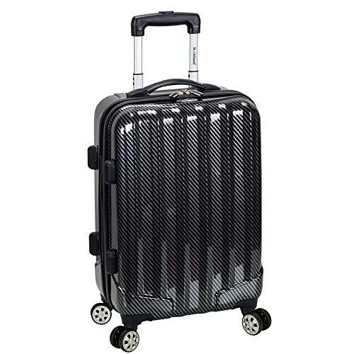 Rockland Melbourne Hardside Spinner Wheel Luggage, Black Fiber, Carry-On 20-Inch